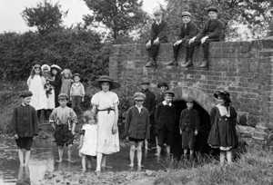 Old Photograph of Children by Riverside